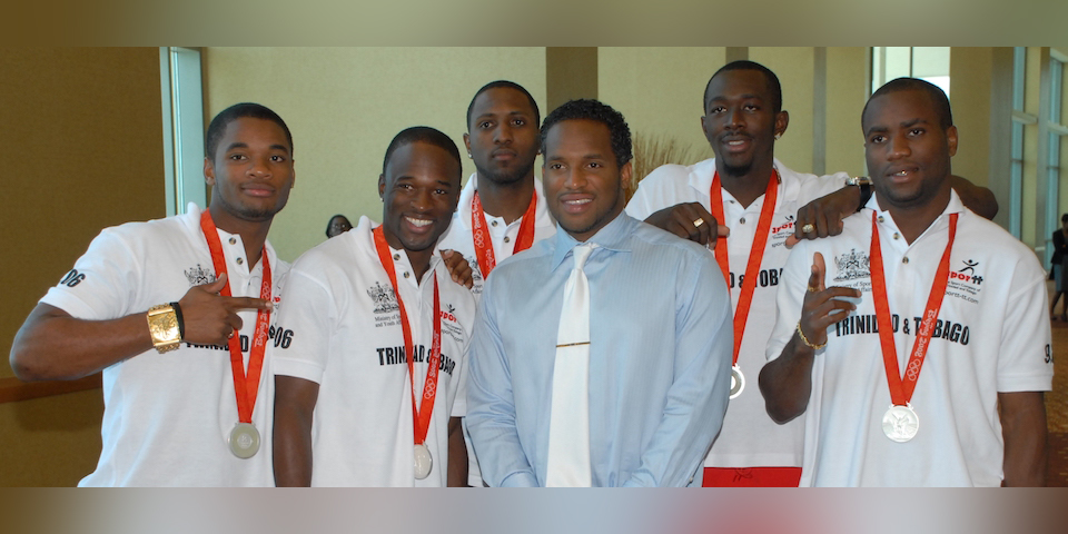 Ato Boldon with medalists L to R: